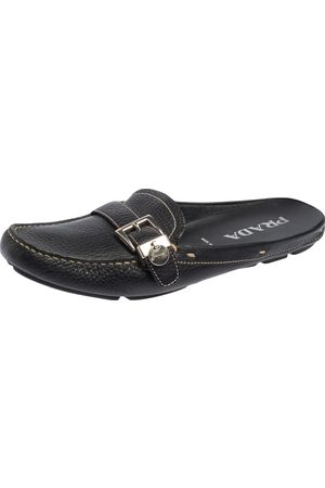 Prada Grained Leather Loafer Flat Mules Size 38.5
