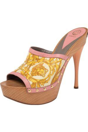 VERSACE Barocco Printed Leather Clog Platform Sandals Size 40