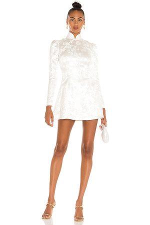 Sau Lee Joyce Chinese Jacquard Mini Dress in Ivory.
