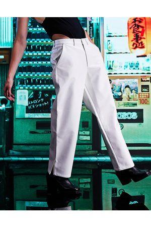 ASOS Men Chinos - Wide fit faux leather pants with split hem