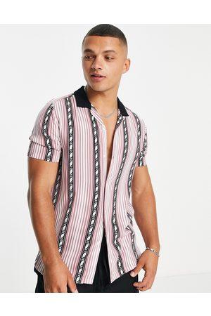 Topman Revere collar stripe shirt in light mahogany-Multi