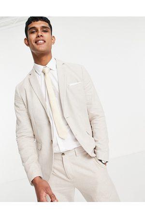 SELECTED Men Blazers - Slim fit linen blend suit jacket in -Neutral