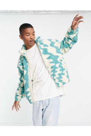 ASOS Men Fleece Jackets - Oversized fleece shacket in all over abstract print-Blues