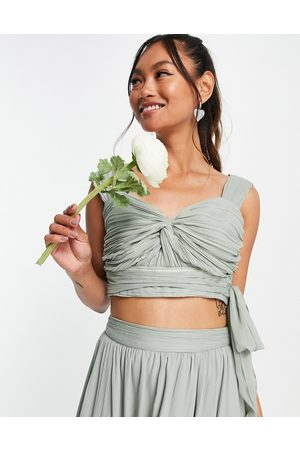 ASOS Women Crop Tops - Bridesmaid ruched crop top with wrap detail - part of a set