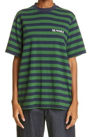 SUNNEI Women's Logo Stripe Cotton T-Shirt
