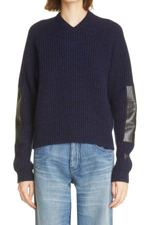 Victoria Beckham Women Sweaters - Women's Leather Elbow Patch Lambswool Sweater