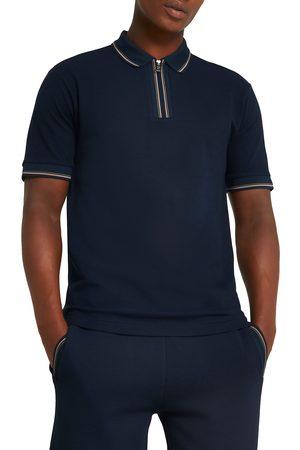 River Island Men Polo Shirts - Men's Slim Fit Jacquard Placket Polo