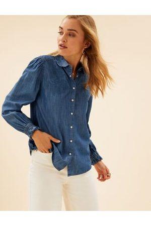 Per Una Denim Floral Applique Long Sleeve Shirt