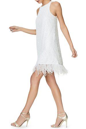 Aidan Mattox Halter Sequin Faux Feather Trim Trapeze Dress