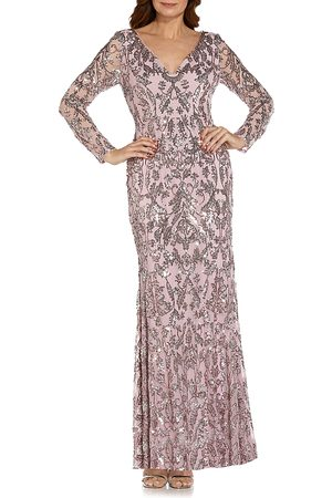 Adrianna Papell Stretch Sequin V Neck Long Sleeve Gown