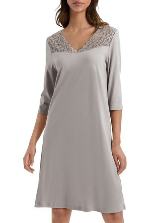 Hanro Moments Lace Trim Three-Quarter Sleeve Cotton Gown