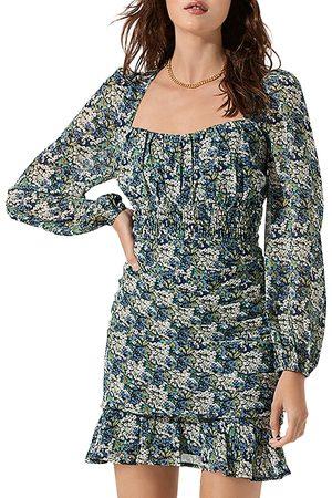 ASTR Ruched Floral Mini Dress