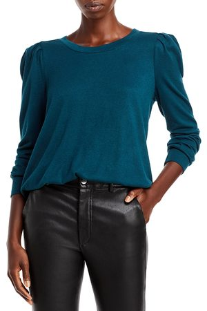 Status By Chenault Solid Hatchi Knit Puff Sleeve Banded Bottom Top