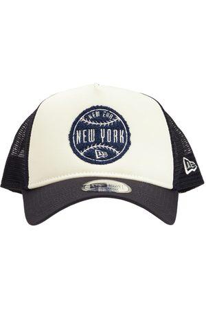 New Era Men Caps - Circle Patch Black A-frame Trucker Cap