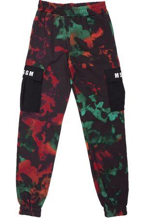 Msgm Tie & Dye Print Cotton Cargo Sweatpants