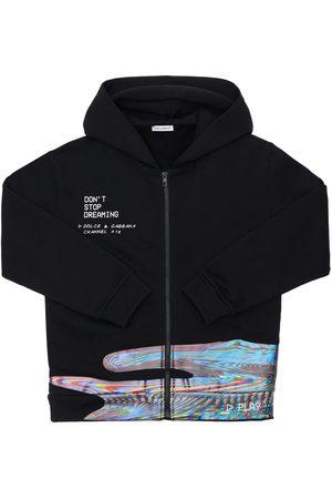 Dolce & Gabbana Girls Hoodies - Printed Zip-up Cotton Sweatshirt Hoodie