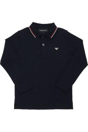 Emporio Armani Long Sleeve Cotton Piqué Polo