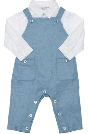 Emporio Armani Boys Dungarees - Cotton Shirt & Wool Blend Knit Overalls