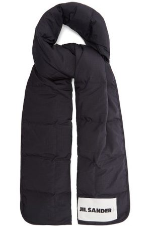 Jil Sander Logo-patch Quilted Ripstop Scarf - Mens - Navy