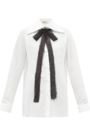 VALENTINO Tie-neck Cotton-poplin Shirt - Womens