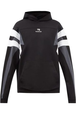 Balenciaga Striped Cotton-jersey Hooded Sweatshirt - Mens - Grey