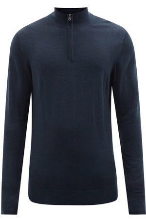 Sunspel Men Turtlenecks - High-neck Zipped Merino-wool Sweater - Mens - Navy