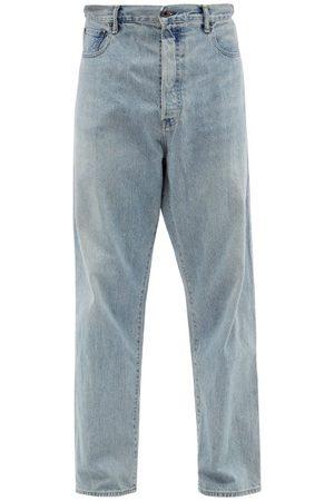 KURO Men Wide Leg - Futura Overlap-back Wide-leg Jeans - Mens - Light Indigo