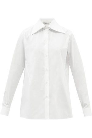 VALENTINO Women Shirts - Exaggerated-collar Cotton-poplin Shirt - Womens