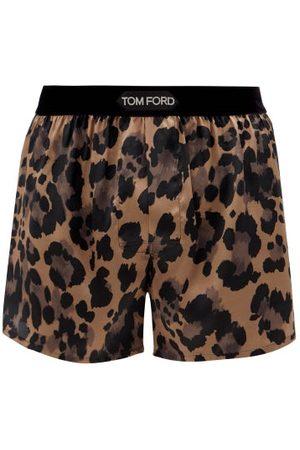 Tom Ford Men Boxer Shorts - Leopard-print Silk-blend Satin Boxer Shorts - Mens - Multi