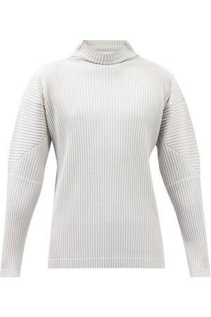 HOMME PLISSÉ ISSEY MIYAKE Roll-neck Pleated-jersey Long-sleeved Top - Mens - Grey