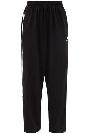 Balenciaga Striped Cotton-jersey Track Pants - Mens - Grey