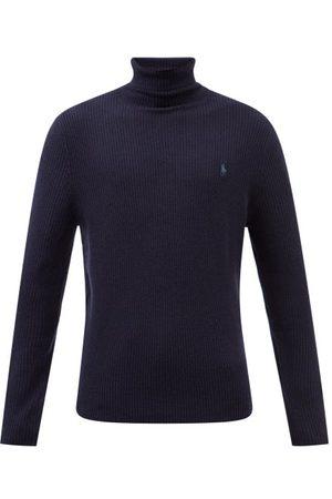 Polo Ralph Lauren Men Turtlenecks - Logo-embroidered Roll-neck Wool Sweater - Mens - Navy