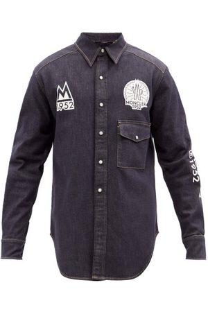 Moncler Men Denim - Logo-print Denim Shirt - Mens - Navy