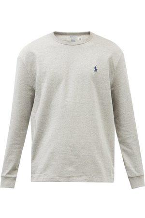Polo Ralph Lauren Logo-embroidered Cotton-blend Long-sleeved T-shirt - Mens - Grey
