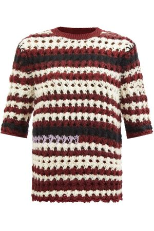 Marni Cropped-sleeve Striped Crochet Sweater - Womens - Multi