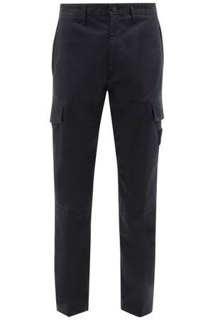 Stone Island Logo-pocket Cotton-blend Twill Cargo Trousers - Mens - Navy