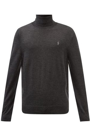 Polo Ralph Lauren Men Turtlenecks - Logo-embroidered Roll-neck Wool Sweater - Mens - Dark Grey