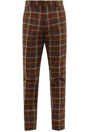 WALTER VAN BEIRENDONCK Checked Twill Straight-leg Trousers - Mens