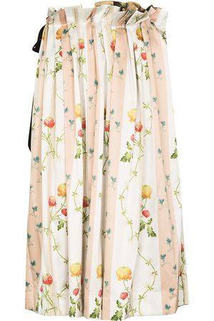 Simone Rocha Women Printed Skirts - Floral-print pleated midi skirt - Neutrals
