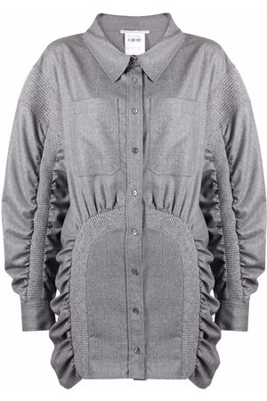 Stella McCartney Ruched wool shirt dress - Grey
