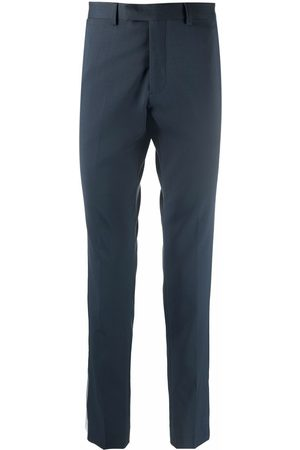 Sandro Men Formal Pants - Slim-cut petrol tailored trousers
