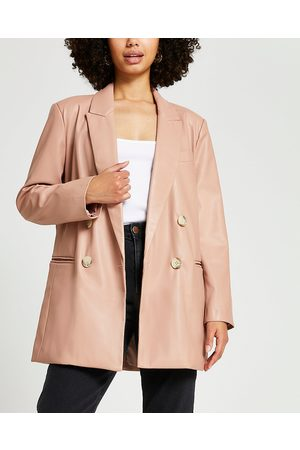 Women Leather Jackets - River Island Womens Pink dad faux leather blazer