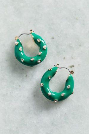Urban Outfitters Women Hoop - Rhinestone Pearl Enamel Hoop Earring