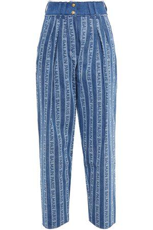 Balmain Women High Waisted - Woman Pleated Logo-print High-rise Tapered Jeans Mid Denim Size 34