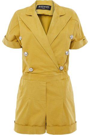 Balmain Women Playsuits - Woman Button-embellished Cotton-blend Twill Playsuit Mustard Size 36