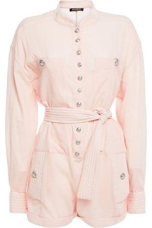 Balmain Women Playsuits - Woman Belted Cotton-gauze Playsuit Pastel Size 38
