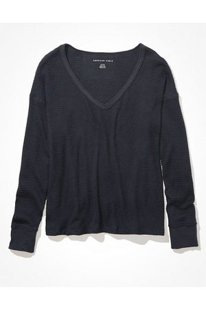 American Eagle Outfitters Soft Sexy Plush Long-Sleeve V-Neck T-Shirt Women's XS