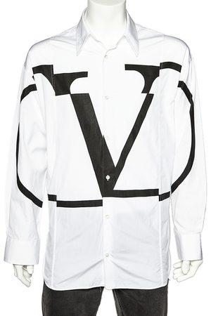 VALENTINO Deconstructed VLogo Printed Cotton Oversized Shirt M
