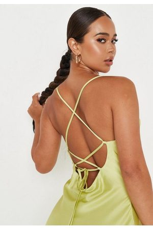 Missguided Tall Lime Cami Cowl Neck Mini Dress
