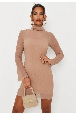 Missguided Taupe Sheer Crinkle High Neck Mini Dress